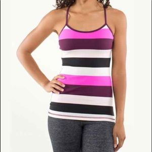 EUC Lululemon Power Y Tank Pow Stripe Raspberry 6